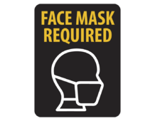 "A black background ""face masks required"" Caution Window Cling Decal"